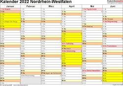 Vorlage 3: Kalender 2022 für NRW als Excel-Vorlagen (Querformat, 2 Seiten)