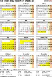 Vorlage 8: Kalender NRW 2022 als Excel-Vorlage (Hochformat)