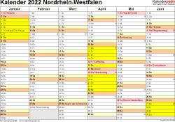 Vorlage 2: Kalender 2022 für Nordrhein-Westfalen (NRW) als Word-Vorlage (Querformat, 2 Seiten)