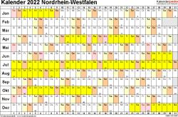 Vorlage 3: Kalender Nordrhein-Westfalen (NRW) 2022 im Querformat, Tage nebeneinander
