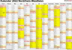 Vorlage 1: Kalender 2022 für Nordrhein-Westfalen als Excel-Vorlagen (Querformat, 1 Seite)