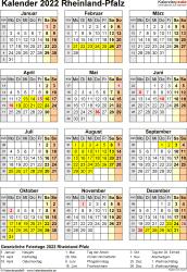 Vorlage 8: Kalender Rheinland-Pfalz 2022 als Excel-Vorlage (Hochformat)