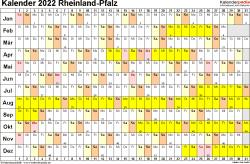 Vorlage 3: Kalender Rheinland-Pfalz 2022 im Querformat, Tage nebeneinander