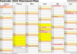 Vorlage 2: Kalender 2022 für Rheinland-Pfalz als Excel-Vorlage (Querformat, 2 Seiten)