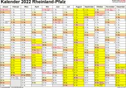 Vorlage 1: Kalender 2022 für Rheinland-Pfalz als Excel-Vorlagen (Querformat, 1 Seite)