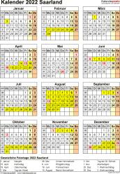 Vorlage 8: Kalender Saarland 2022 als Excel-Vorlage (Hochformat)