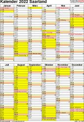 Vorlage 6: Kalender Saarland 2022 als Excel-Vorlage (Hochformat)