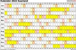 Vorlage 2: Kalender Saarland 2022 im Querformat, Tage nebeneinander