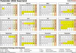 Vorlage 4: Kalender 2022 für Saarland als Word-Vorlage (Querformat, 1 Seite, Jahresübersicht)
