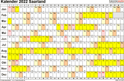 Vorlage 3: Kalender Saarland 2022 im Querformat, Tage nebeneinander