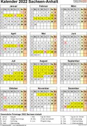 Vorlage 4: Kalender Sachsen-Anhalt 2022 als Excel-Vorlage (Hochformat)