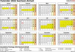 Vorlage 4: Kalender 2022 für Sachsen-Anhalt als PDF-Vorlage (Querformat, 1 Seite, Jahresübersicht)