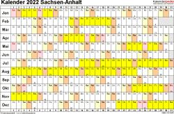 Vorlage 3: Kalender Sachsen-Anhalt 2022 im Querformat, Tage nebeneinander