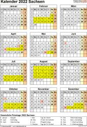 Vorlage 8: Kalender Sachsen 2022 als Word-Vorlage (Hochformat)