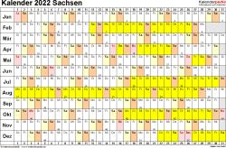 Vorlage 2: Kalender Sachsen 2022 im Querformat, Tage nebeneinander