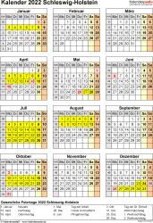 Vorlage 8: Kalender Schleswig-Holstein 2022 als Excel-Vorlage (Hochformat)