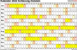 Vorlage 2: Kalender Schleswig-Holstein 2022 im Querformat, Tage nebeneinander