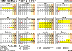 Vorlage 4: Kalender 2022 für Schleswig-Holstein als Excel-Vorlage (Querformat, 1 Seite, Jahresübersicht)