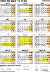 Vorlage 8: Kalender Thüringen 2022 als Excel-Vorlage (Hochformat)