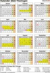 Vorlage 8: Kalender Thüringen 2022 als PDF-Vorlage (Hochformat)