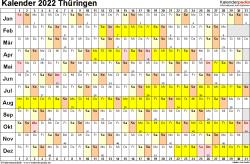 Vorlage 3: Kalender Thüringen 2022 im Querformat, Tage nebeneinander
