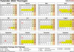 Vorlage 4: Kalender 2022 für Thüringen als PDF-Vorlage (Querformat, 1 Seite, Jahresübersicht)