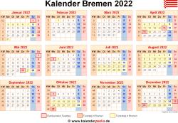 Kalender 2022 Bremen