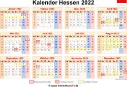 Kalender 2022 Hessen