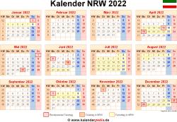 Kalender 2022 NRW