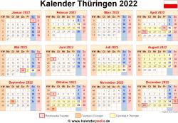 Kalender 2022 Thüringen
