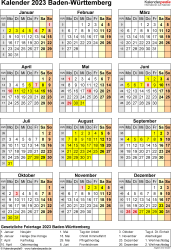 Vorlage 8: Kalender Baden-Württemberg 2023 als PDF-Vorlage (Hochformat)