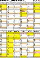 Vorlage 5: Kalender Baden-Württemberg 2023 als PDF-Vorlage (Hochformat)