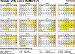 Vorlage 4: Kalender 2023 für Baden-Württemberg als PDF-Vorlage (Querformat, 1 Seite, Jahresübersicht)