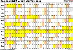 Vorlage 3: Kalender Baden-Württemberg 2023 im Querformat, Tage nebeneinander