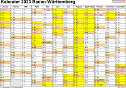 Vorlage 1: Kalender 2023 für Baden-Württemberg als PDF-Vorlage (Querformat, 1 Seite)