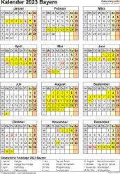 Vorlage 8: Kalender Bayern 2023 als Word-Vorlage (Hochformat)
