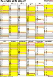 Vorlage 5: Kalender Bayern 2023 als Word-Vorlage (Hochformat)