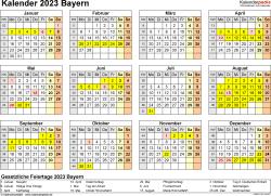 Vorlage 4: Kalender 2023 für Bayern als Word-Vorlage (Querformat, 1 Seite, Jahresübersicht)
