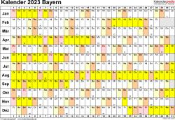 Vorlage 3: Kalender Bayern 2023 im Querformat, Tage nebeneinander