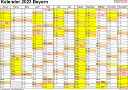 Vorlage 1: Kalender 2023 für Bayern als Word-Vorlage (Querformat, 1 Seite)