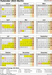 Vorlage 8: Kalender Berlin 2023 als Excel-Vorlage (Hochformat)