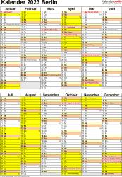 Vorlage 5: Kalender Berlin 2023 als Excel-Vorlage (Hochformat)