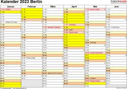Vorlage 2: Kalender 2023 für Berlin als Excel-Vorlage (Querformat, 2 Seiten)