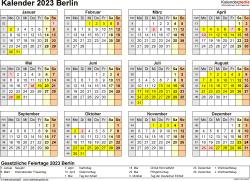 Vorlage 4: Kalender 2023 für Berlin als Excel-Vorlage (Querformat, 1 Seite, Jahresübersicht)
