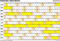 Vorlage 3: Kalender Berlin 2023 im Querformat, Tage nebeneinander
