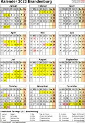 Vorlage 8: Kalender Brandenburg 2023 als Excel-Vorlage (Hochformat)