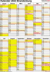 Vorlage 5: Kalender Brandenburg 2023 als Excel-Vorlage (Hochformat)