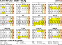 Vorlage 4: Kalender 2023 für Brandenburg als Excel-Vorlage (Querformat, 1 Seite, Jahresübersicht)