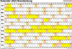 Vorlage 3: Kalender Brandenburg 2023 im Querformat, Tage nebeneinander