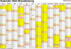 Vorlage 1: Kalender 2023 für Brandenburg als Excel-Vorlage (Querformat, 1 Seite)